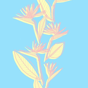 Misaligned Vertical Bird of Paradise Pastels Blue