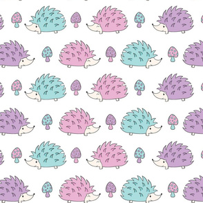 Cute Kawaii Hedgehogs in Pink, Purple and Blue