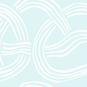 The cool kids_abstract slinky spaghetti white on cool mint green