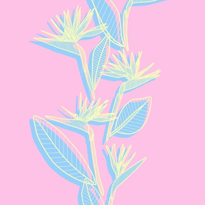 Misaligned Vertical Bird of Paradise Pink Pastels