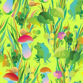 Frogs in the grass (yellow green b/g)
