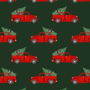 australian cattle dog christmas truck fabric - red truck, christmas dog, christmas truck - blue heeler - green