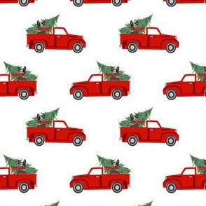 australian cattle dog christmas truck fabric - red truck, christmas dog, christmas truck - blue heeler - white