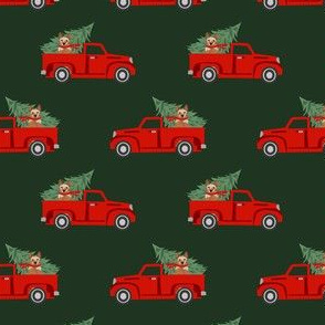 australian cattle dog christmas truck fabric - red truck, christmas dog, christmas truck - red heeler - green