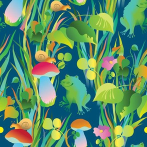 Frogs in the grass (dark b/g)