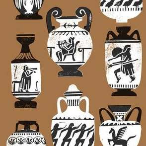 greek vase fabric - ancient greece fabric, greek pottery fabric, ancient greece fabric - brown