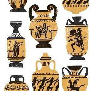 greek vase fabric - ancient greece fabric, greek pottery fabric, ancient greece fabric - white