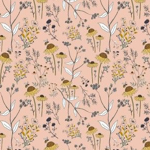 Floral Mix on Pink Background - Honey Bee Collection