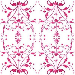Hot Pink Damask mirrored