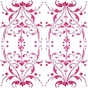 Hot Pink Damask mirrored