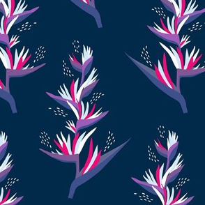 Heliconia Flower - navy and pink