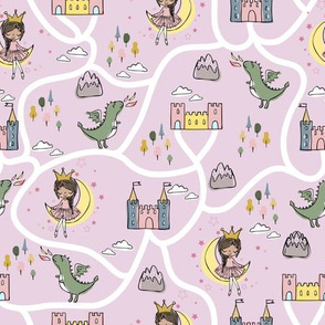 Childish seamless pattern with princess and dragon