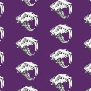 Saber Tooth Tiger Skull on Purple 3 - small size