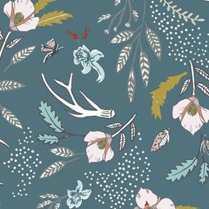 Woodfall Floral (storm blue) MED
