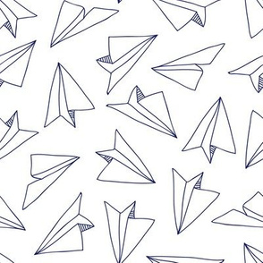 pocket treasure - paper planes - white blue