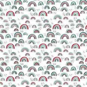 Rainbow love Scandinavian abstract rainbow clouds happy rain sky christmas red green mint XS