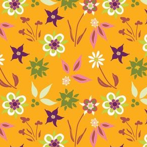 Springtime Floral on Orange
