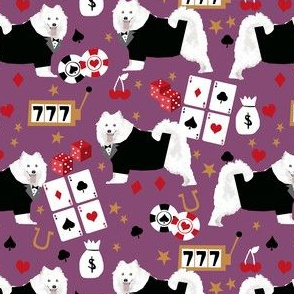 samoyed casino fabric - dogs and poker fabric, dog card fabric, casino fabric, dog fabric - purple
