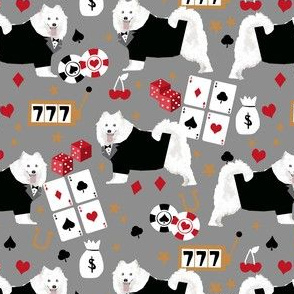 samoyed casino fabric - dogs and poker fabric, dog card fabric, casino fabric, dog fabric - grey