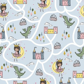 Childish seamless pattern with princess and dragonblue background