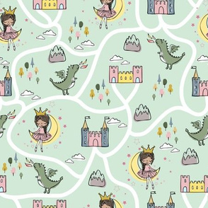 Childish seamless pattern with princess and dragon green background
