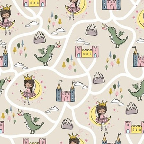 Childish seamless pattern with princess and dragon beige background