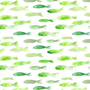 Green sardines swimming to Maldives • watercolor fish pattern