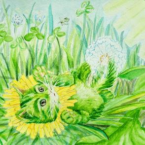 Watercolor Dandekitten in Clover