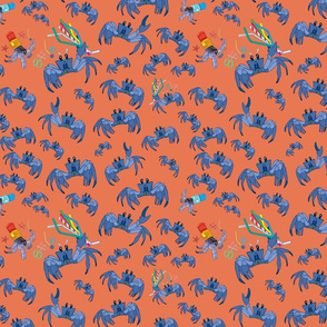 Crabs-Grumpy Blue Crabs on Peach Color