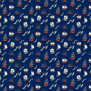 Ships on Navy Blue
