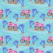 Pink Monster trucks hawaiian shirt