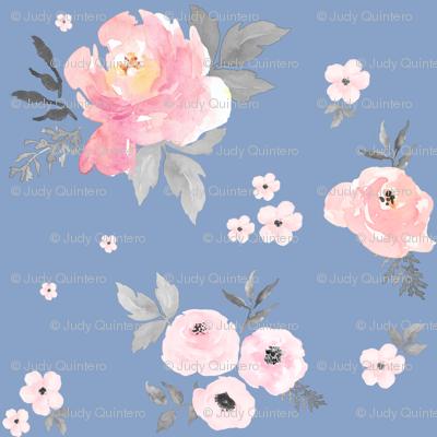 """4"""" SWEET BLUSH ROSES Blue Background"""