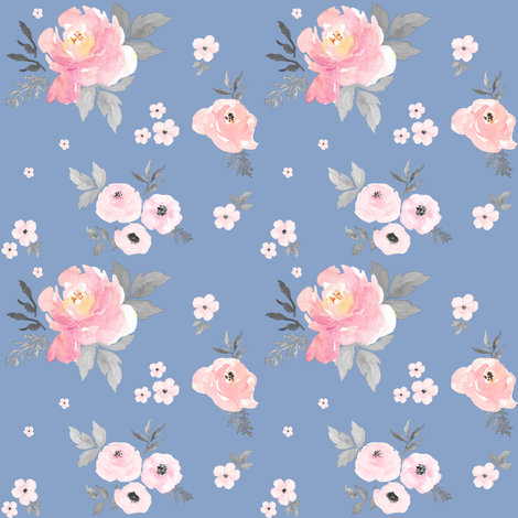 """4"""" SWEET BLUSH ROSES Blue Background fabric by shopcabin on Spoonflower - custom fabric"""