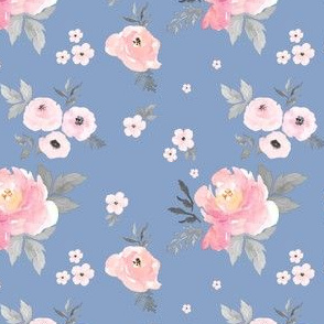 "4"" SWEET BLUSH ROSES Blue Background"