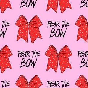 cheer fabric - cheerleading, school spirit, school sports, school, bow, fear the bow, cheer fabric - red and pink
