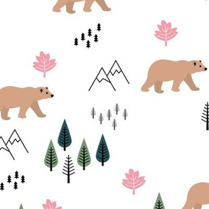 Mountains and grizzly bears wild wanderlust forest woodland Canadian Montana nature reserve pink green girls