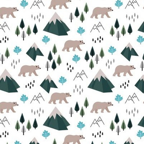 Mountains and grizzly bears wild wanderlust forest woodland Canadian Montana nature reserve green blue SMALL