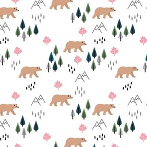 Mountains and grizzly bears wild wanderlust forest woodland Canadian Montana nature reserve pink green girls SMALL