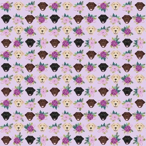 SMALL Labrador floral dog pattern purple