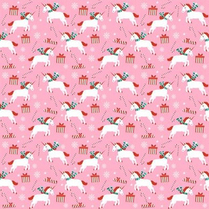 SMALL - christmas unicorn - christmas unicorn fabric, christmas fabric, christmas fabric by the yard, holiday fabric, xmas fabric, cute fabric, christmas design, funny christmas - light pink