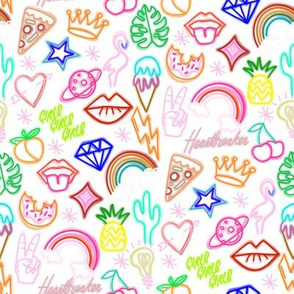 Neon signs fabric - neon, cactus, flamingo, bird, funny, cute, rainbow, happy fabric -  white