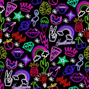 Neon signs fabric - neon, cactus, flamingo, bird, funny, cute, rainbow, happy fabric -  pinks and purples
