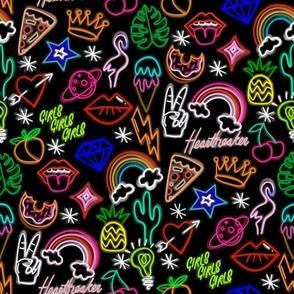 Neon signs fabric - neon, cactus, flamingo, bird, funny, cute, rainbow, happy fabric - black
