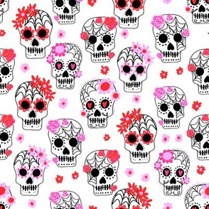 sugar skulls fabric - marigold fabric, day of the dead fabric, mexico folk fabric - white