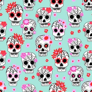 sugar skulls fabric - marigold fabric, day of the dead fabric, mexico folk fabric - mint