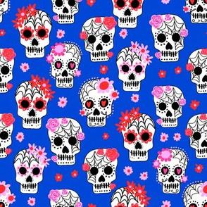 sugar skulls fabric - marigold fabric, day of the dead fabric, mexico folk fabric - blue