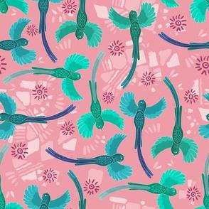Aztec Quetzal tumble pink