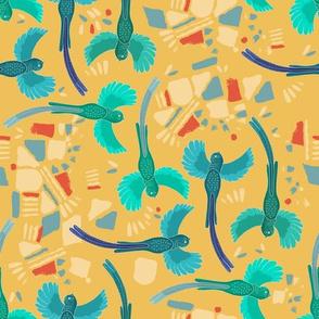 Aztec Quetzal tumble mustard