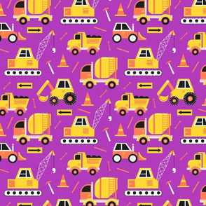 Construction Trucks on Purple