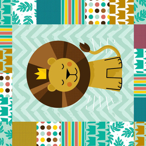 "Leo the Lion Cheater Quilt - 42"" wide"